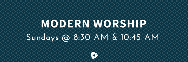Our Modern Worship services are held each week on Sundays at 8:30 AM & 10:45 AM in Brandt Hall.    Our 8:30 AM Modern Worship is an abbreviated service (45 minutes) with less music and a weekly opportunity to partake in communion.    Our 10:45 AM Modern Worship is a full service (1-hour) with more modern worship music.