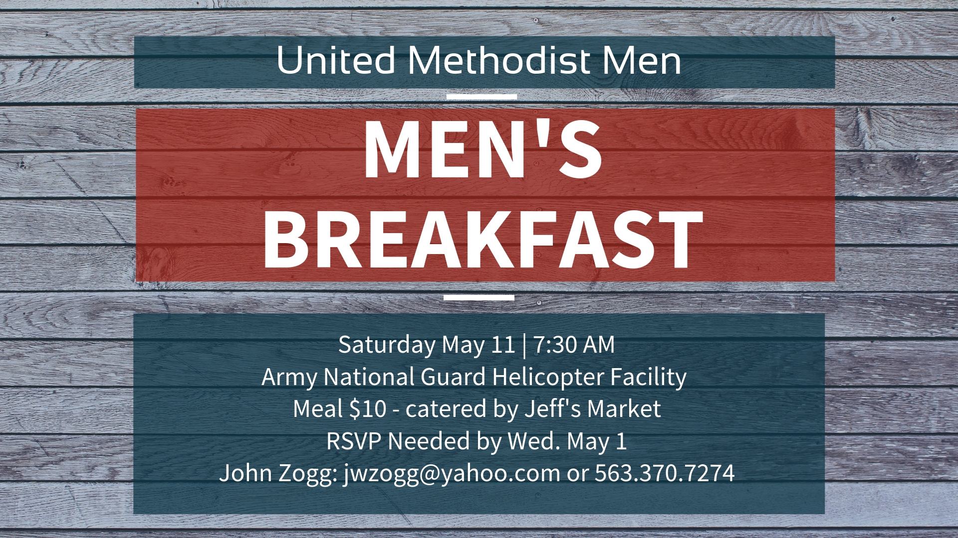 Attention ALL Christ Church Men!    Our next Men's Breakfast will be  Saturday May 11 at 7:30 AM.    We'll be meeting at the Iowa Army National Guard Helicopter Facility located at the Davenport Airport.   Please arrive by 7:30 AM. Breakfast will be catered by Jeff's Market in Durant, IA and will be served at 7:45 AM. The cost for the meal is just $10 each (including tax & tip).   We'll have our regular men's group meeting, plus CW3 Brad Baerwaldt will speak. We'll also get a close-up look at one of the CH-47 Chinook Helicopters.   Please join us for this very casual time of fellowship and breakfast. Please, invite a friend!     RSVP Needed by May 1 to John Zogg: 563.370.7274 or jwzogg@yahoo.com