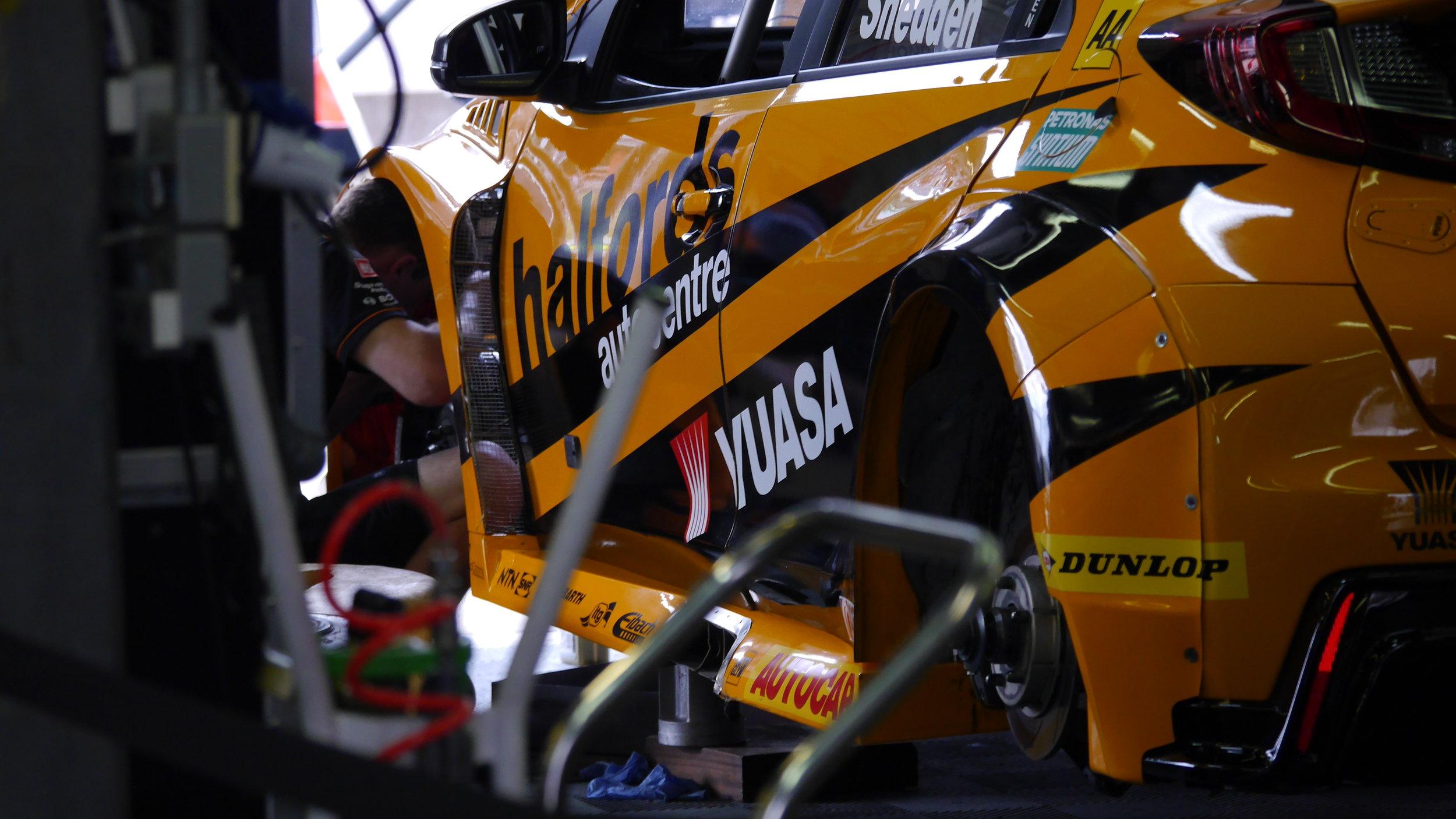 Gordon Shedden's car gets TLC in the garage between races