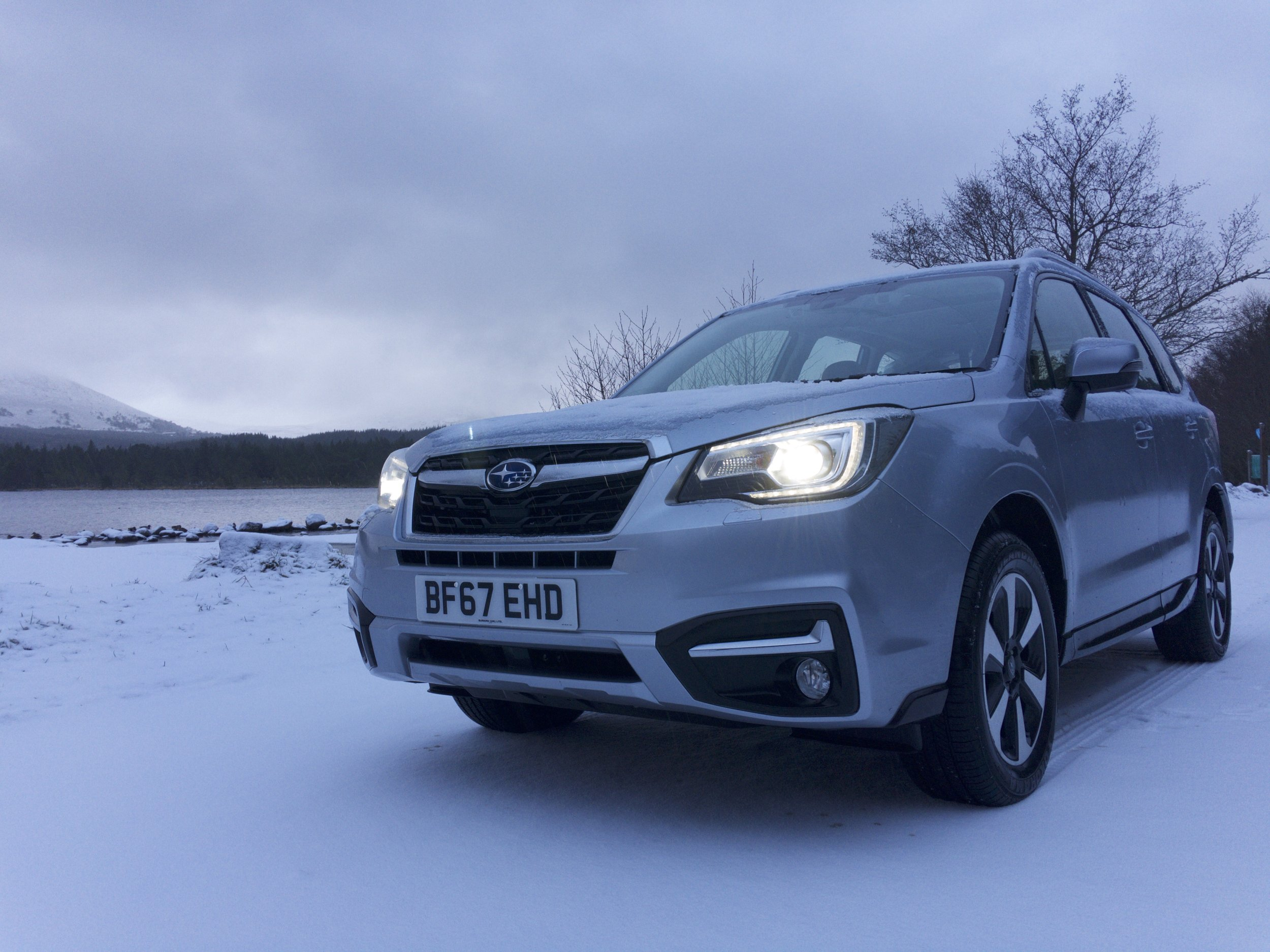 The Subaru Forester perfectly at ease in the snow and ice.