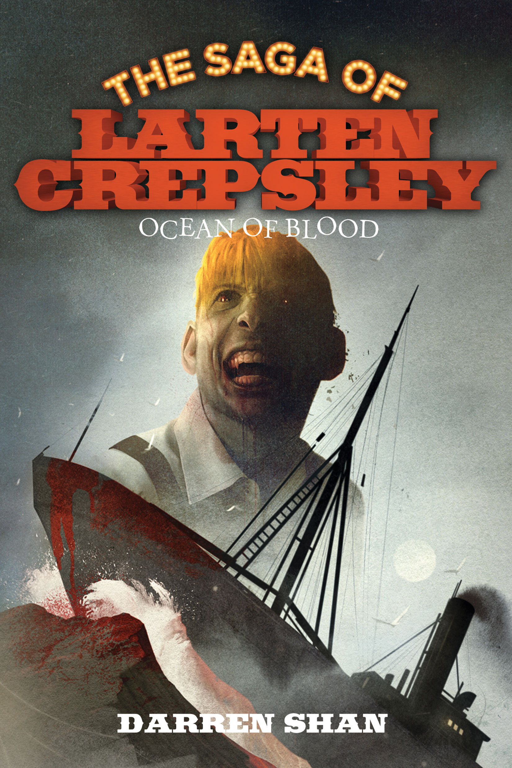 The Saga of Larten Crepsley: Ocean of Blood by Darren Shan Designed by Ben Mautner for Little, Brown Logo & Identity by Ben Mautner. Illustrated by Sam Weber.