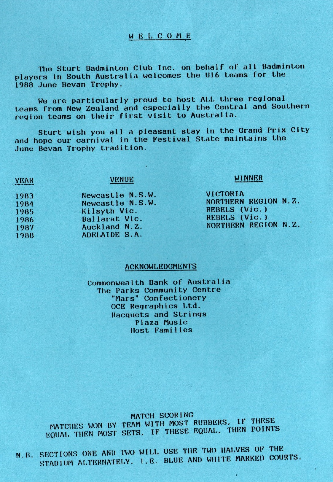 1988 June Bevan Trophy program