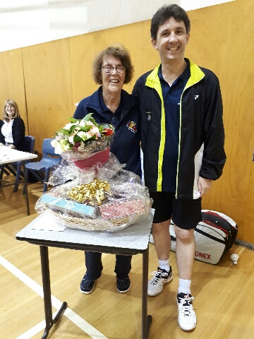 Retiring Treasurer Maureen Collins - presented with flowers and a gift basket by President Paul Godden. Thank you Maureen on behalf of all our members for your 35 years of representation on the Committee and active club membership.