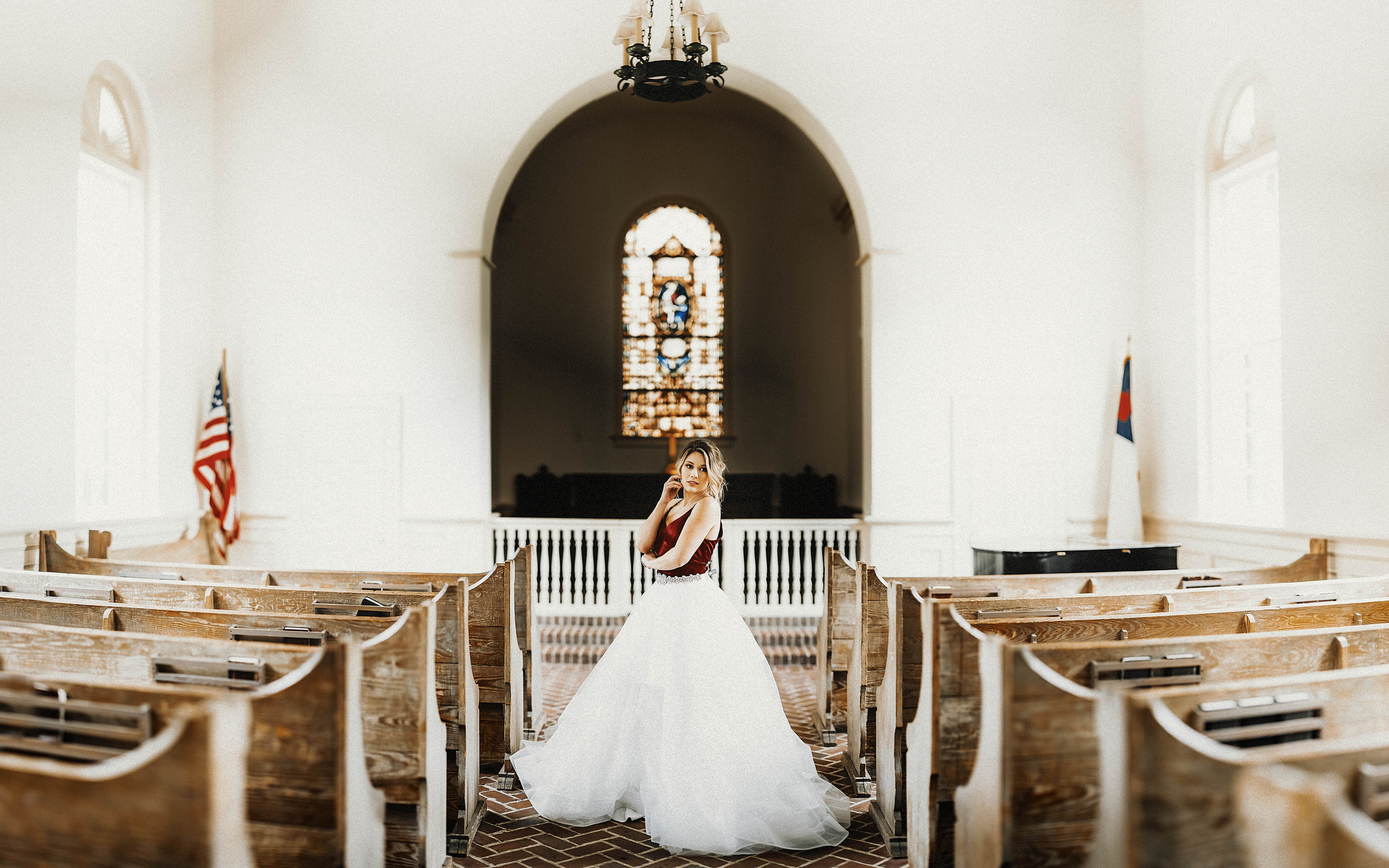 Bridal Portrait example inside the chapel - 20 image pano shot using the Leica SL + 75mm Noctilux at f/1.2
