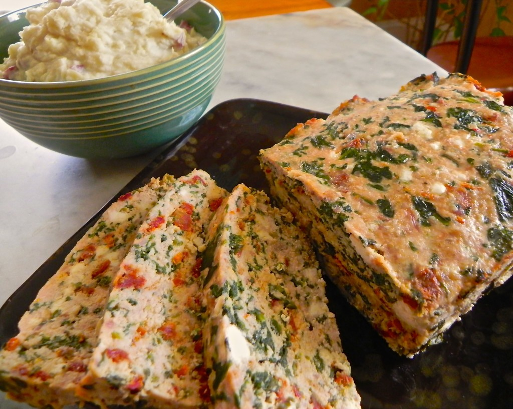 Turkey meatloaf with spinach, sundried tomato and feta