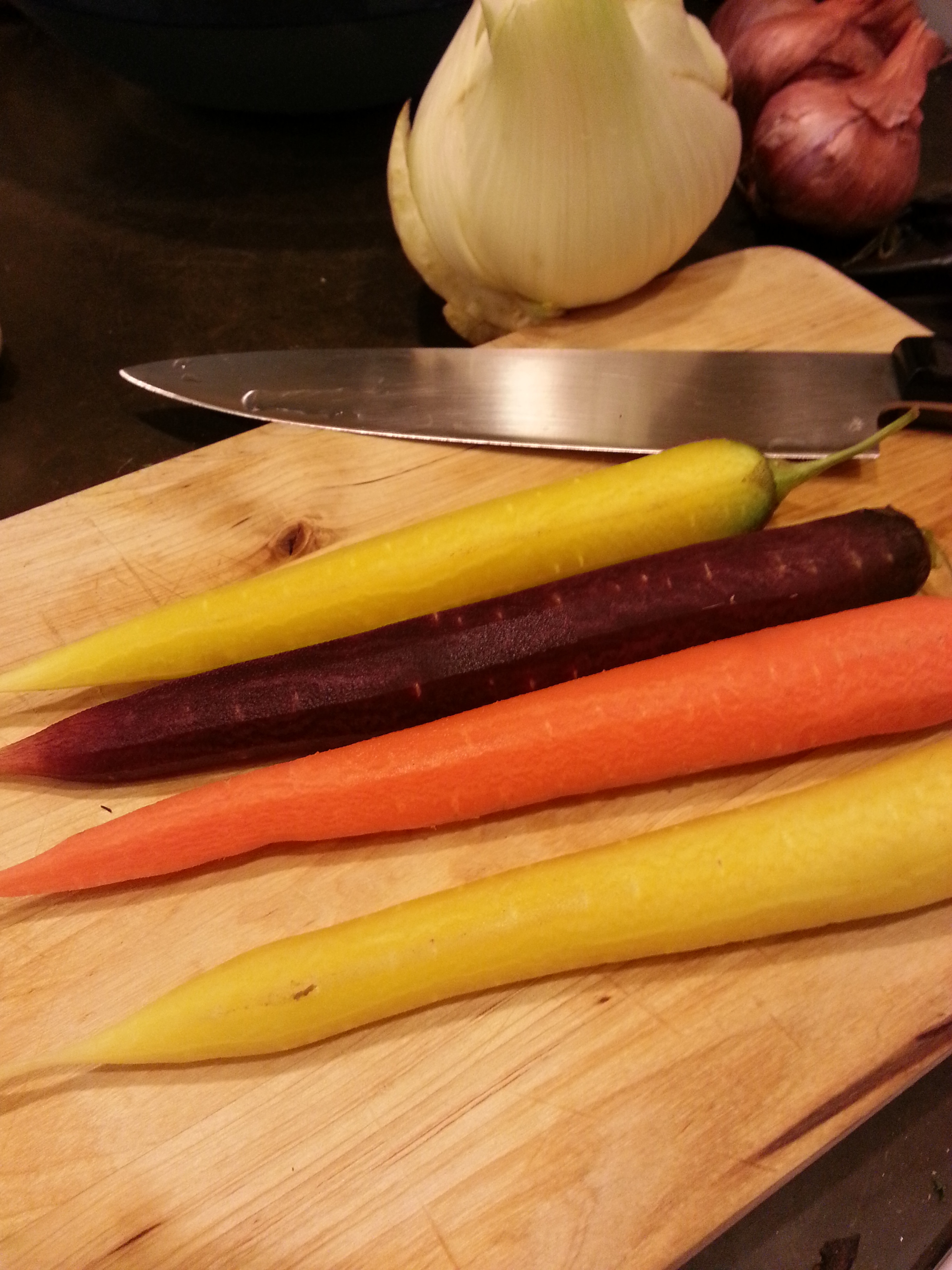gorgeous carrots, fennel, garlic and shallots form the all important mirepoix for the cassoulet