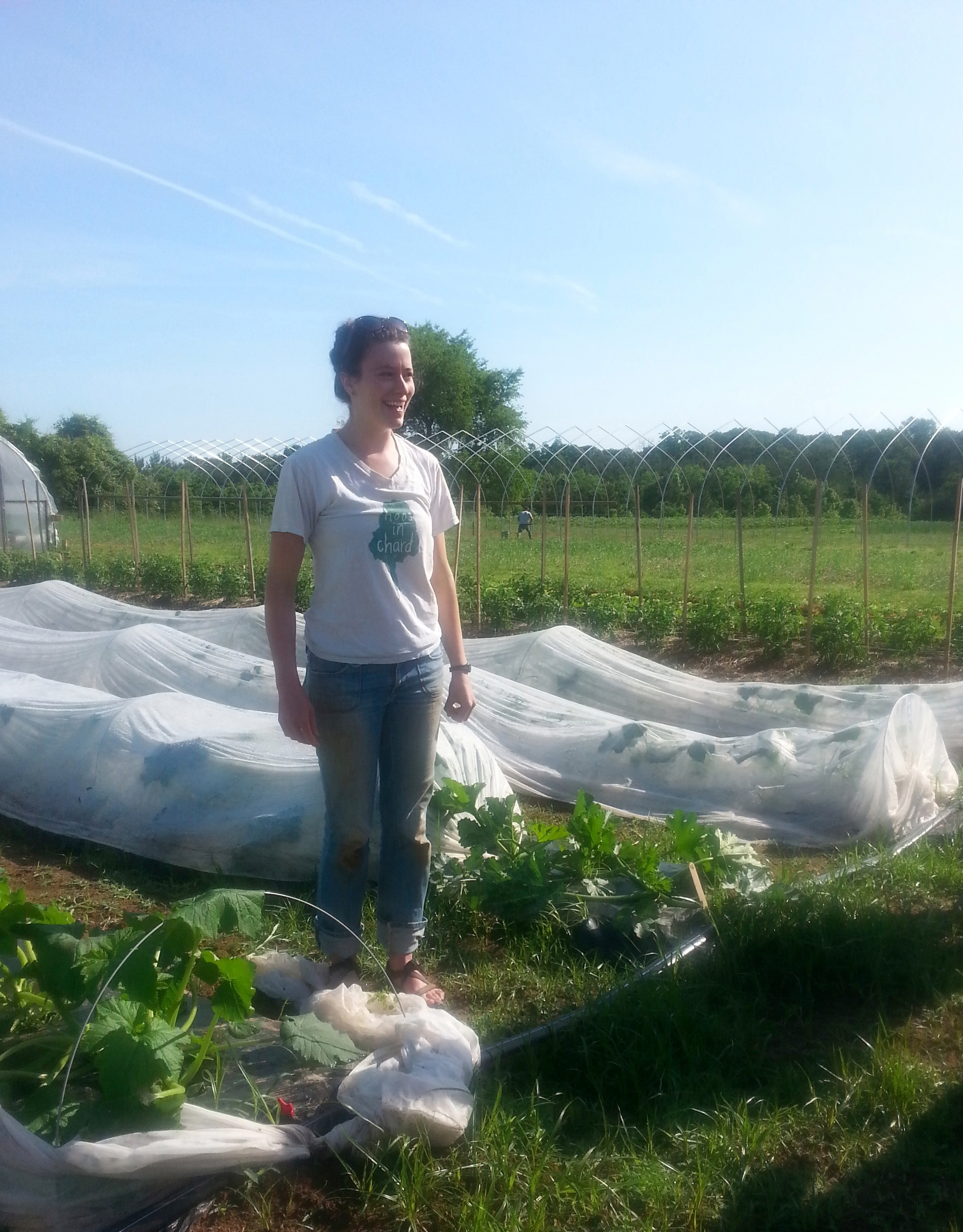 Claire, Program Coordinator, is a welcoming presence on the farm.