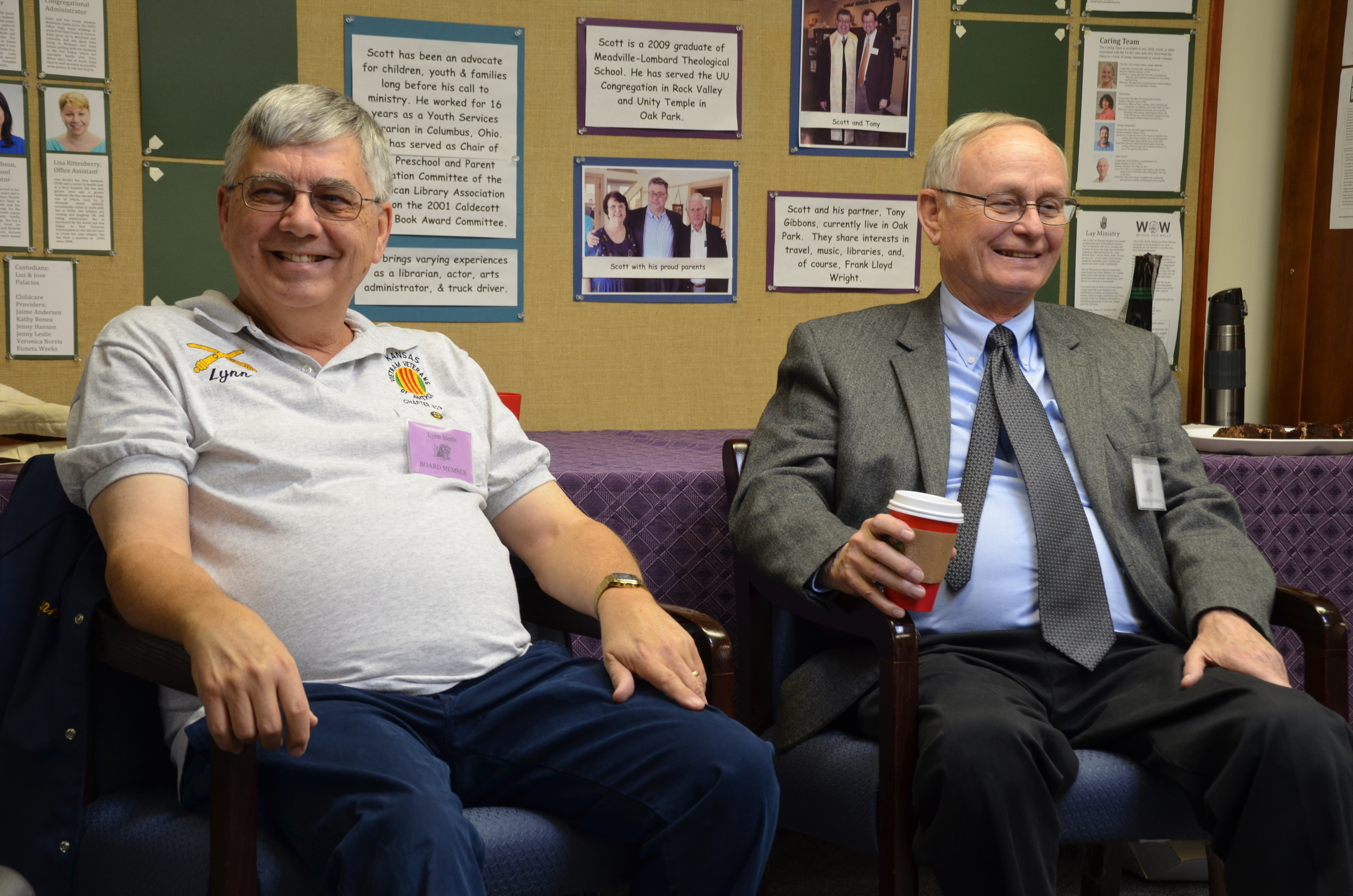 in November 2015, Lynn Steele (left) prepares to share his experiences coming home from the vietnam war. Mental Health Ministry coordinator peter coe is on the right.