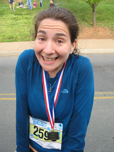 This sweaty elf could not have been more excited to be finished running the Charlottesville 10-miler.