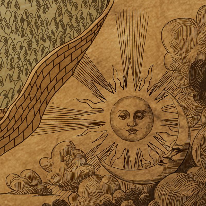 Sun and Moon - Map corner decoration details