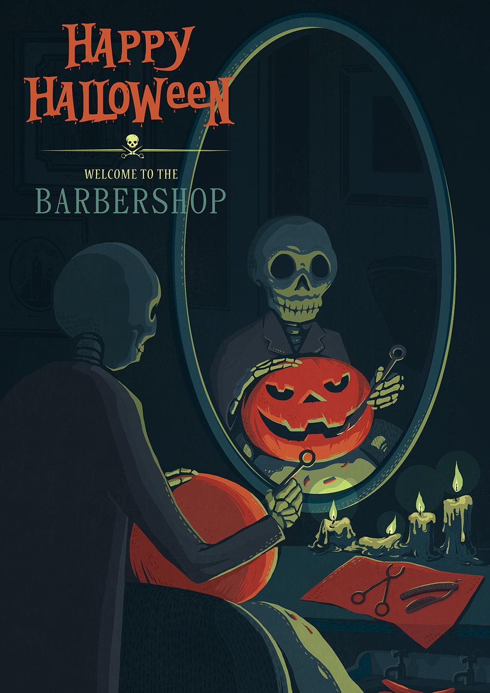 I always loved those old barber shops, the wall decorations, the old wooden floor and sink, the huge leather chair etc.. Although I don't get much chance to been inside, as a girl I usually have to go to those beauty hair salon.  This Halloween theme illustration idea with a barber shop came to me from nowhere ,but turns out it kind of cool!