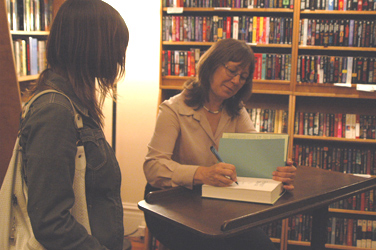 Here I am nervously getting my book signed by Robin Hobb at Borderlands