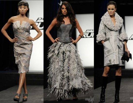 """above: Newspaper dresses from the TV show Project Runway ( img source )  below: Lady Gaga """"bubble dress"""" designed by Hussein Chalayan ( img source )"""