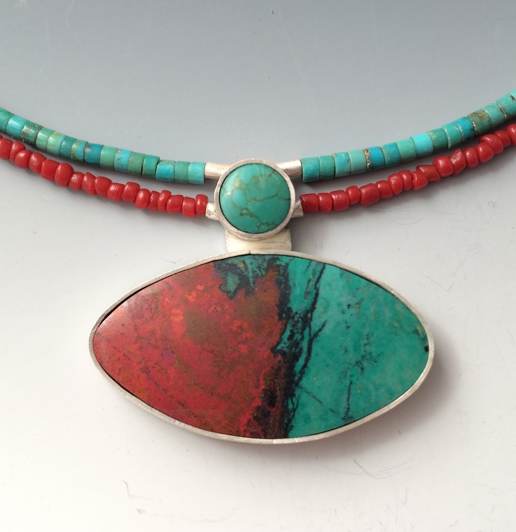 Yin Yang Sonora Sunrise Chrysocolla, Turquoise, Sterling Silver $365