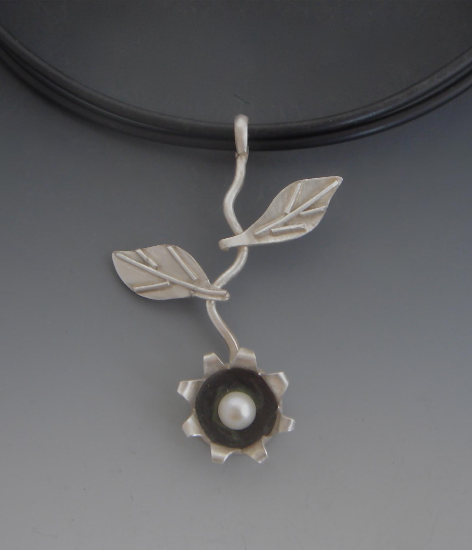 Bloom Sterling Silver, Freshwater Pearl, Neoprene $235