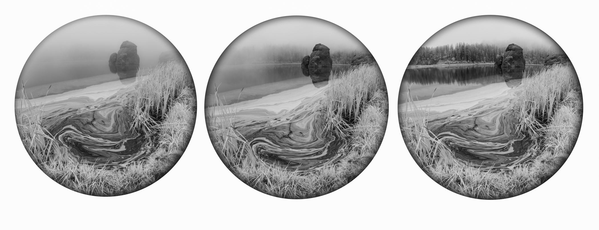 Fog Passing Sylvan Lake Triptych