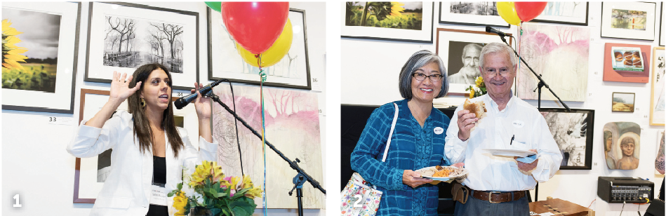 1. Gallery Manager Natalie Knox 2. FRANK donating artist, photographer David Spear and Karen Fung. Photography provided by Barbara Tyroler 2018 Off the Wall Gala.