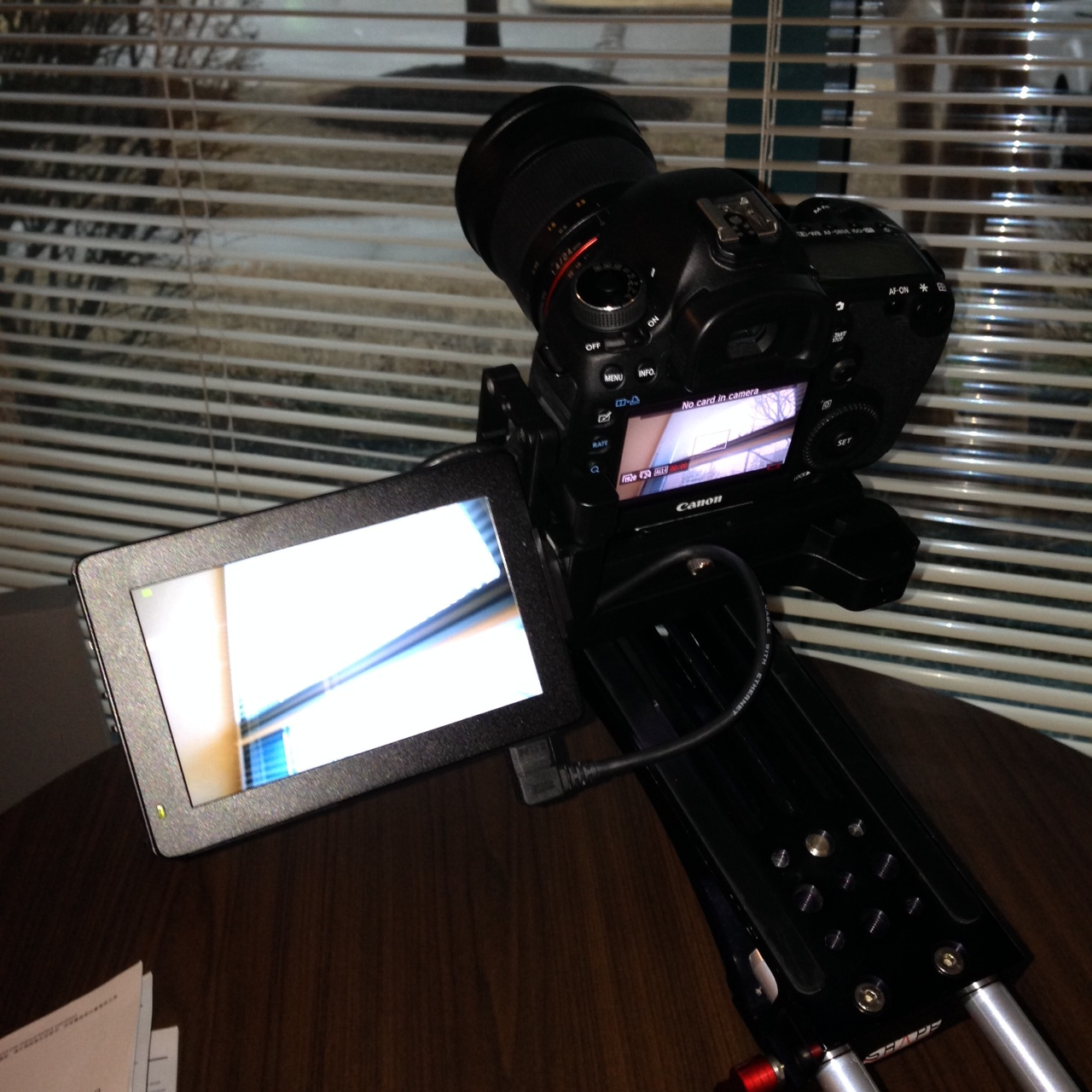 The Swivi attached to the 5D Mark III and mounted to a Shape camera rig