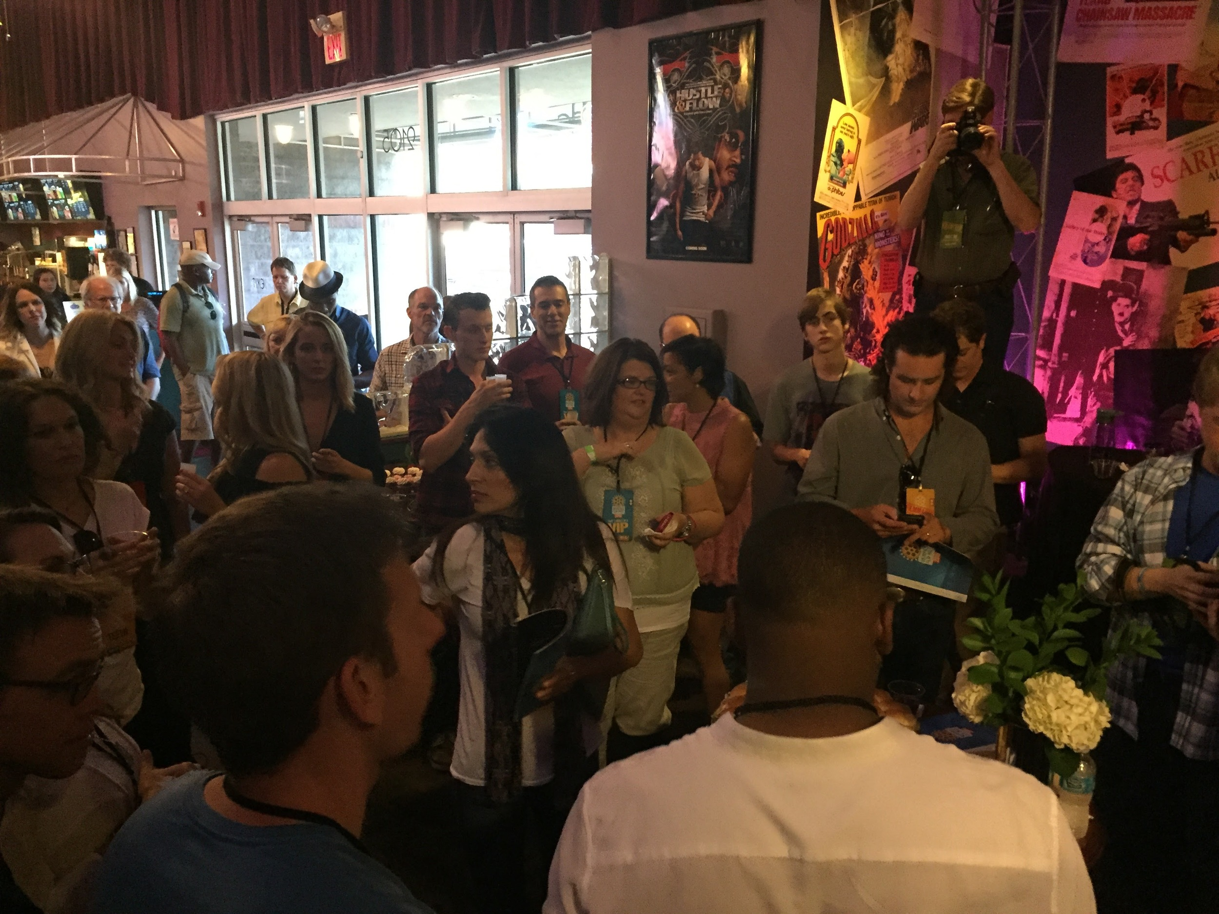 Standing in the VIP area with the other nine filmmakers, festival judges, and festival staff.