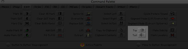 Notice the Top and Tail commands in the Edit section of the Command Palette