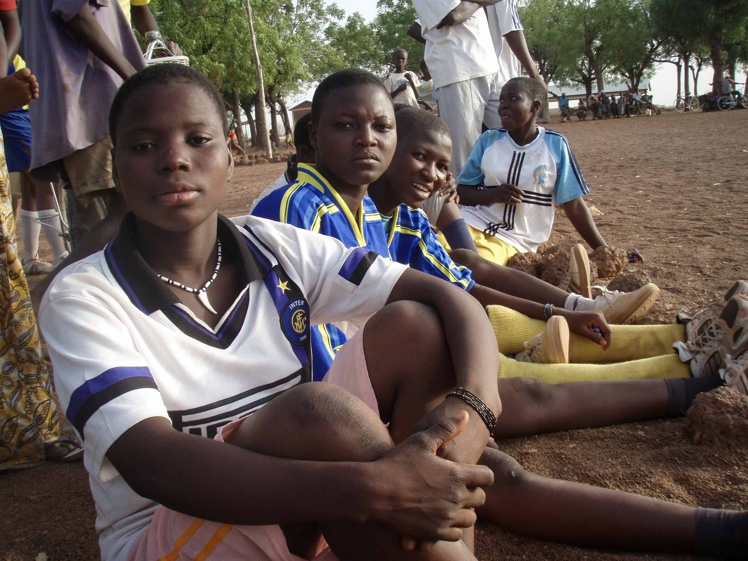 Students at a girls' soccer tournament during Sagbiebou's first International Women's Day event in 2008.