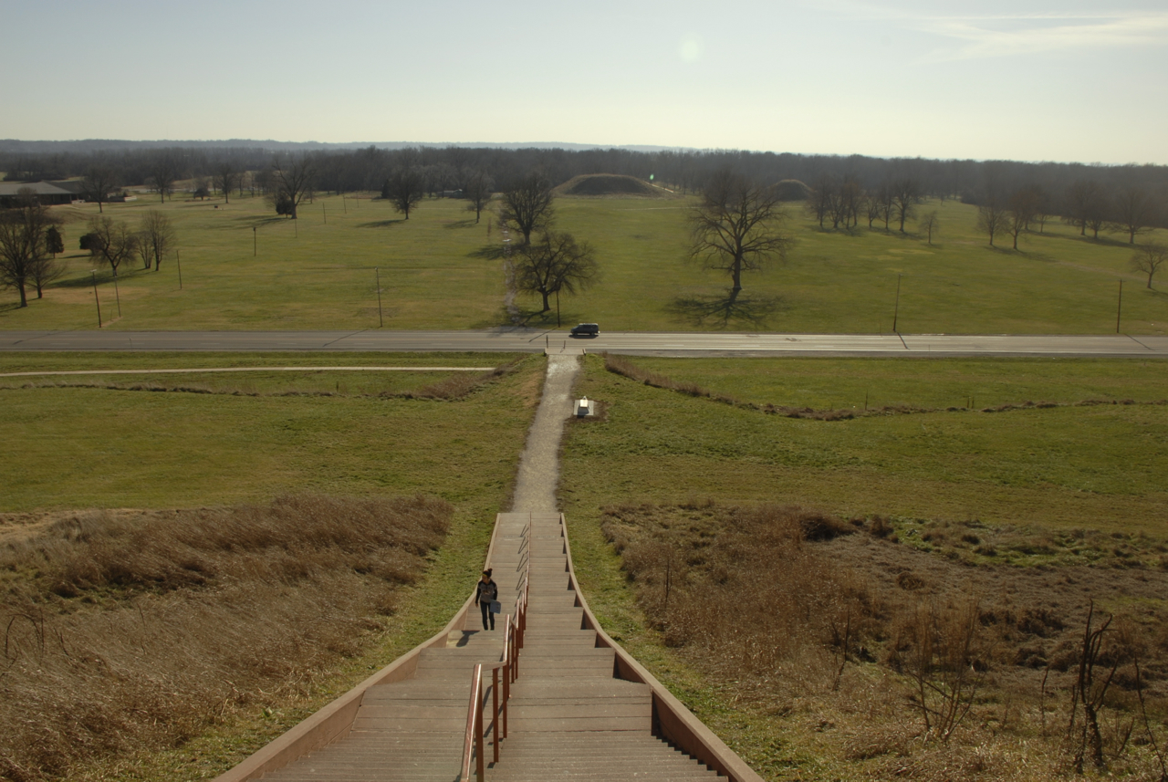 Looking down the staircase up Monks Mound.