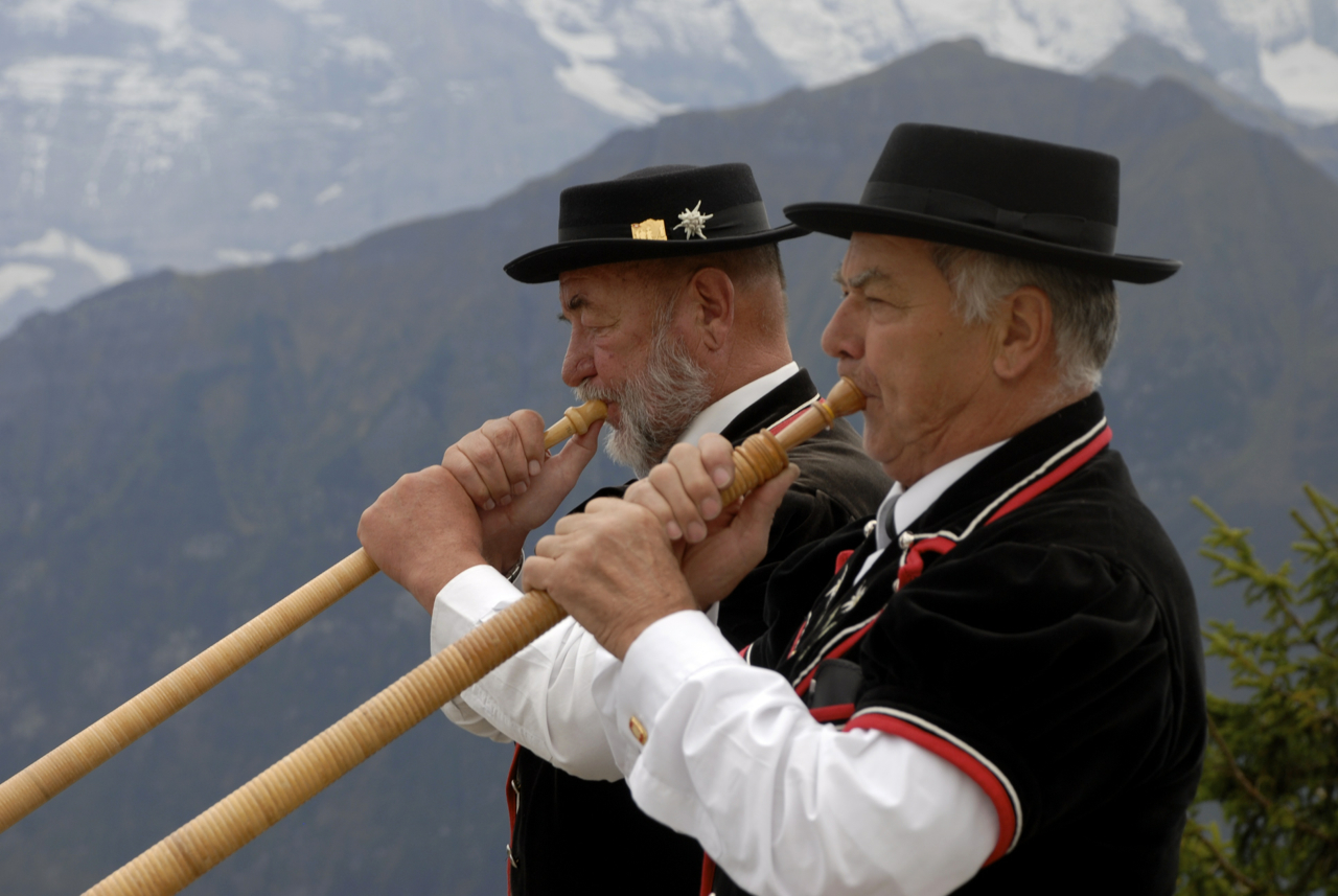 Alphorn players in the Berner Oberland