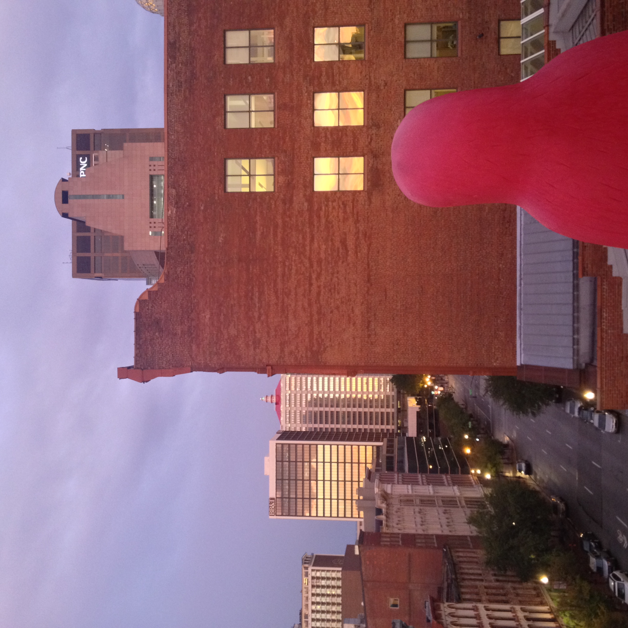 Red penguin watches over Louisville from the fancy rooftop apartment