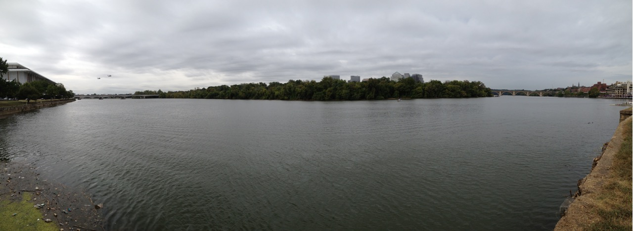 (L-R): Kennedy Center & trash, Theodore Roosevelt Island, Key Bridge & Georgetown.