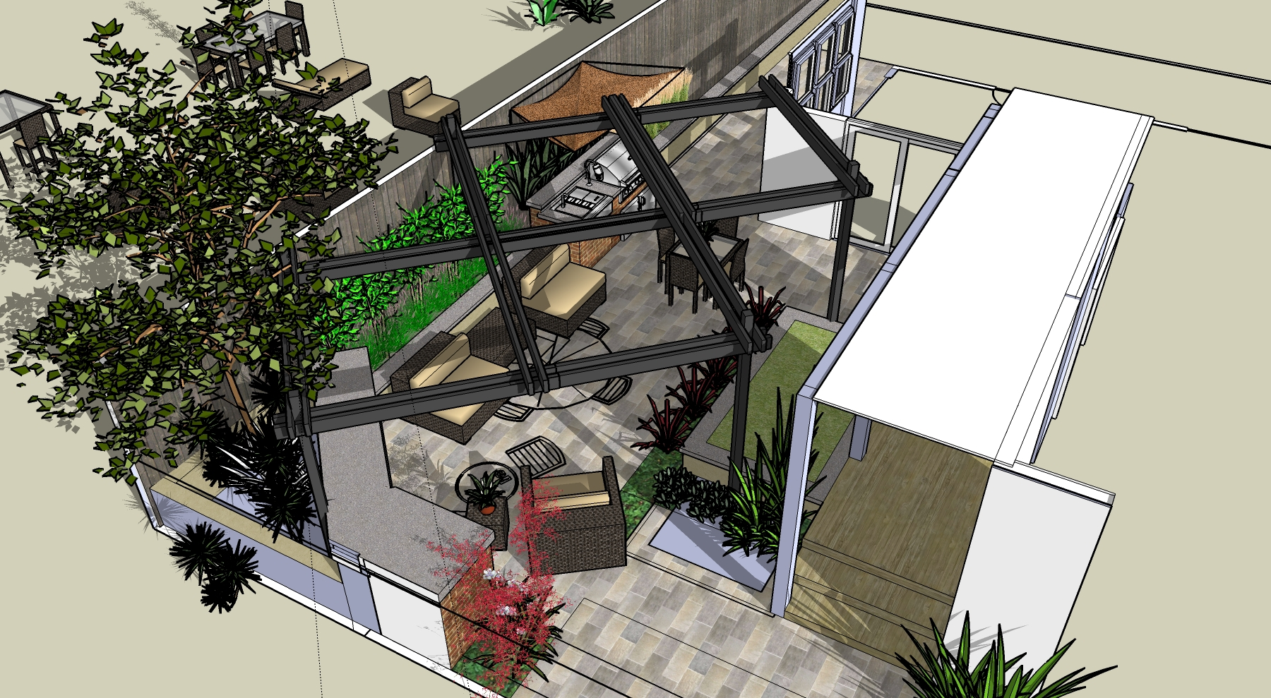 A BIRD'S EYE VIEW PROVIDES AN OVERHEAD LOOK AT THE DESIGN INTENT AND GIVES THE CLIENT A VISUAL REPRESENTATION.