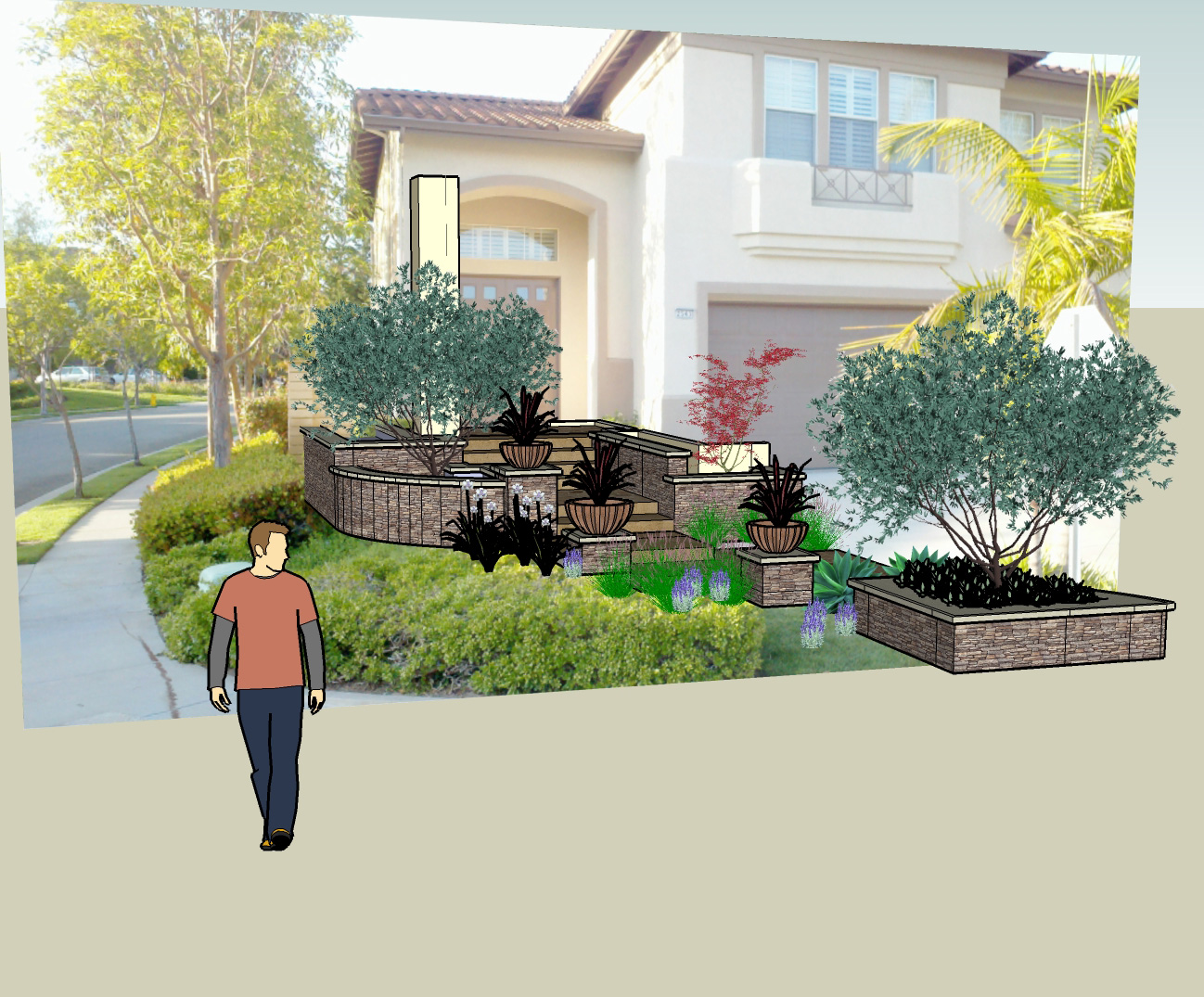 SKETCH UP RENDERINGS CAN BE INSERTED INTO EXISTING PHOTOGRAPHS TO DEMONSTRATE THE INSTALLED DESIGN.