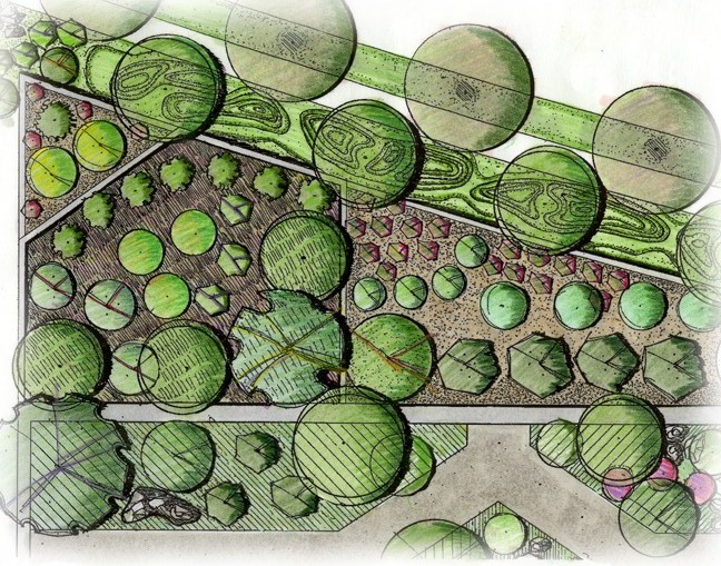 COLOR RENDERINGS USED ON MASTER PLANS SHOW PLANT MATERIAL, HARDSCAPE, AND EARTH WORKS GIVING THE PLAN DEPTH.