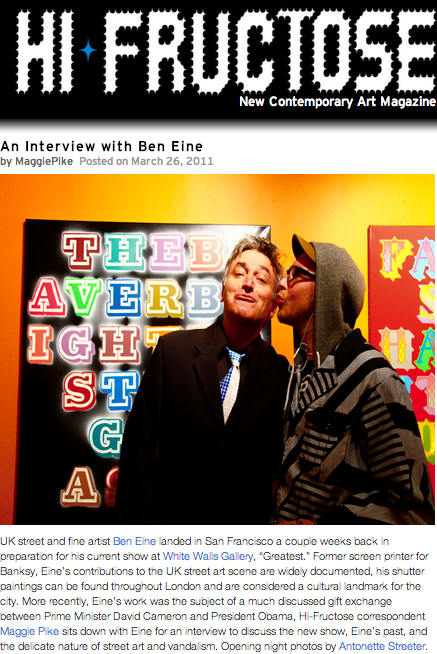 For all of the images from artist Ben Eine's opening night at White Walls click here