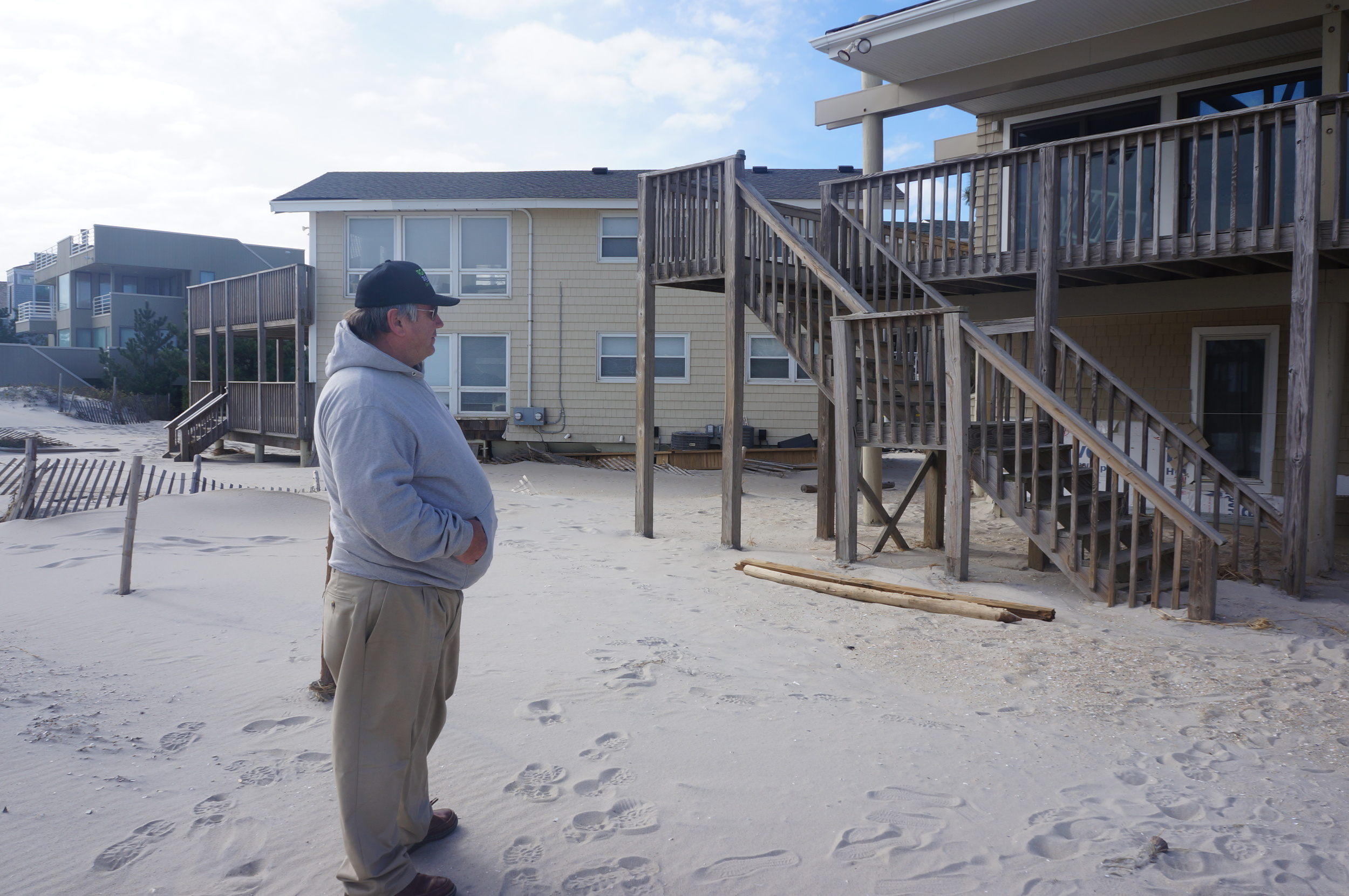 Bob Hume, David Hume, and RGH Development Company assessing storm damage in Long Beach Island (LBI).
