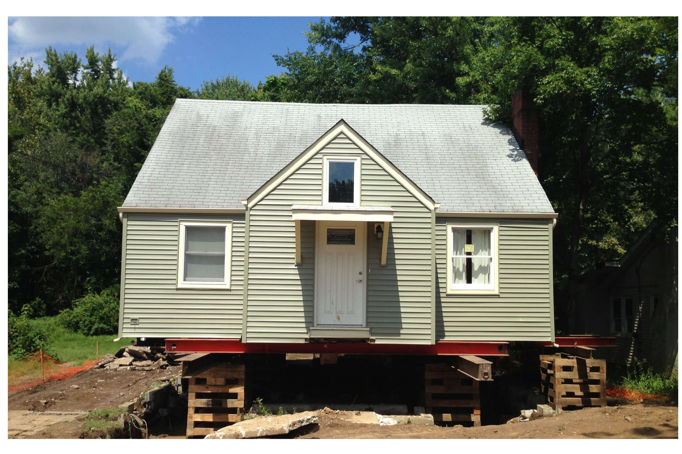Raising a house from hurricane flooding in New Jersey