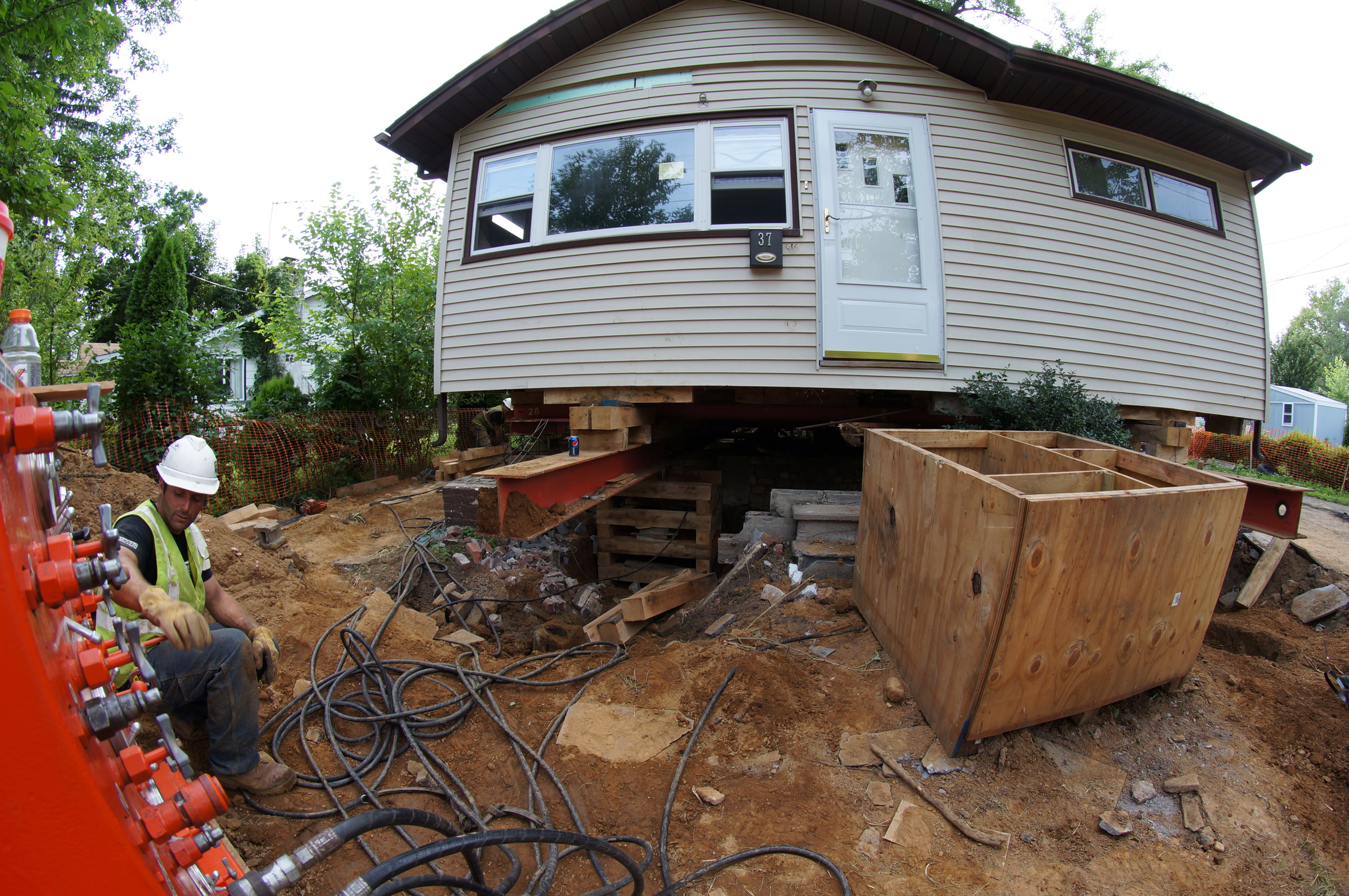 In the process of raising a house for a flooded home in NJ