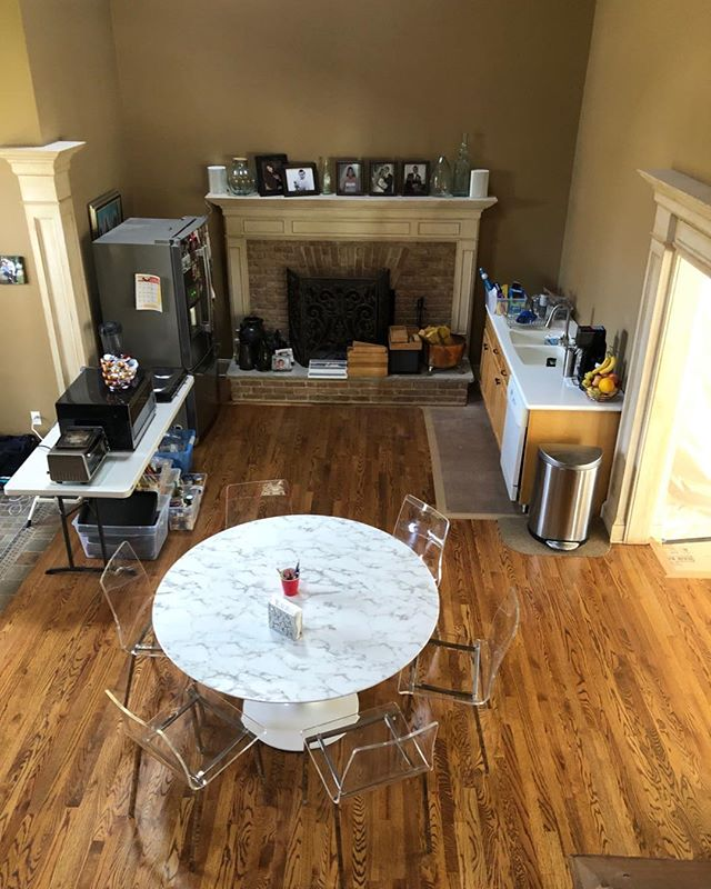 """This might not look like much, but this is a fully functioning """"Temporary Kitchen"""". These are extremely convenient when your real kitchen is being worked on and should always be considered if your remodeling your kitchen."""