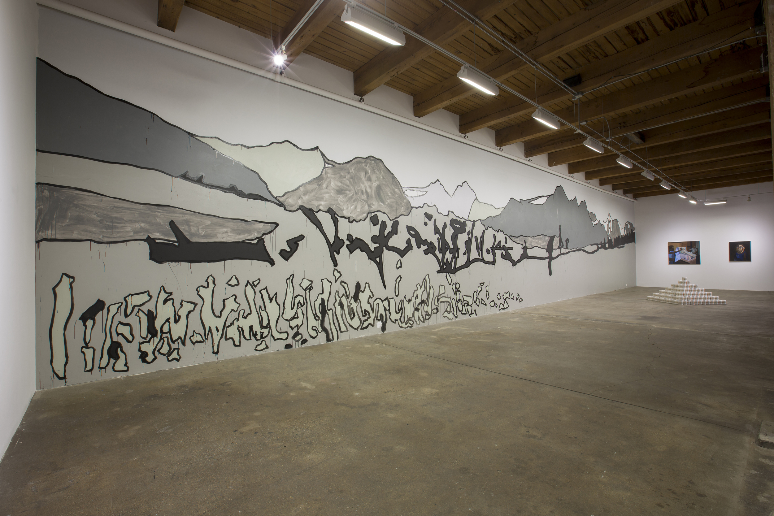 Accept the challenge of a mighty land., 2015, Acrylic, h. Installed at Carrie Secrist Gallery, Chicago, IL