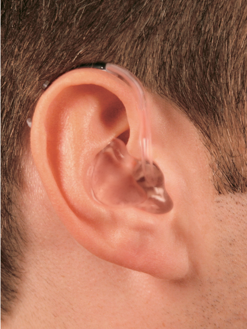 behind the ear (BTE) style hearing aid with earmold
