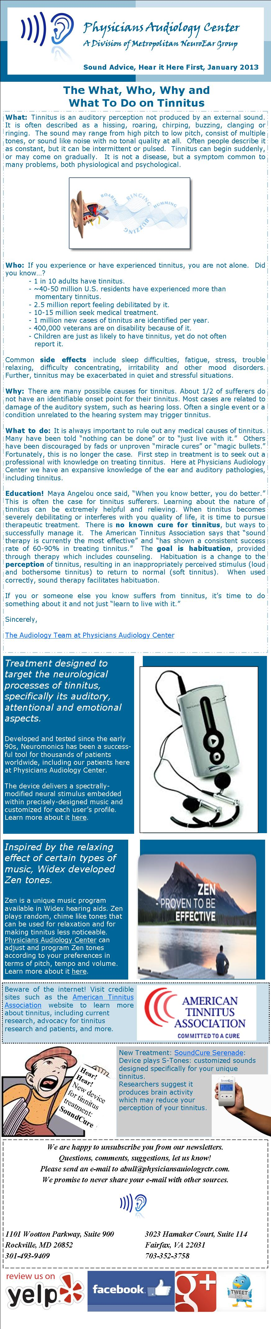 Physicians Audiology Center Newsletter Issue 2  January 2013: The What, Who, Why, and What to Do on TInnitus