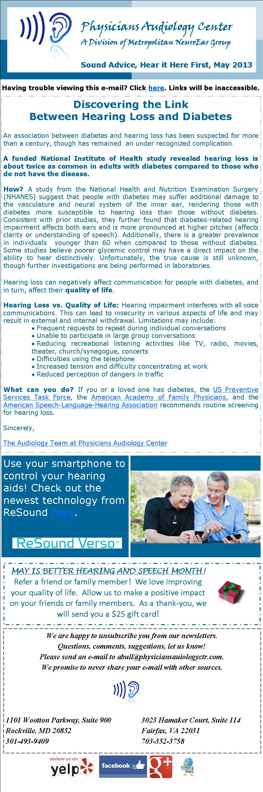 Physicians Audiology Center Newsletter Issue 3  May 2013: Discovering the Link Between Hearing Loss and Diabetes