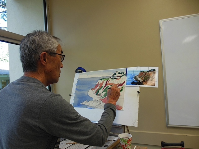 Mike is laying in the color. Mike is busy as usual. He finds he is selling his coastal paintings well.