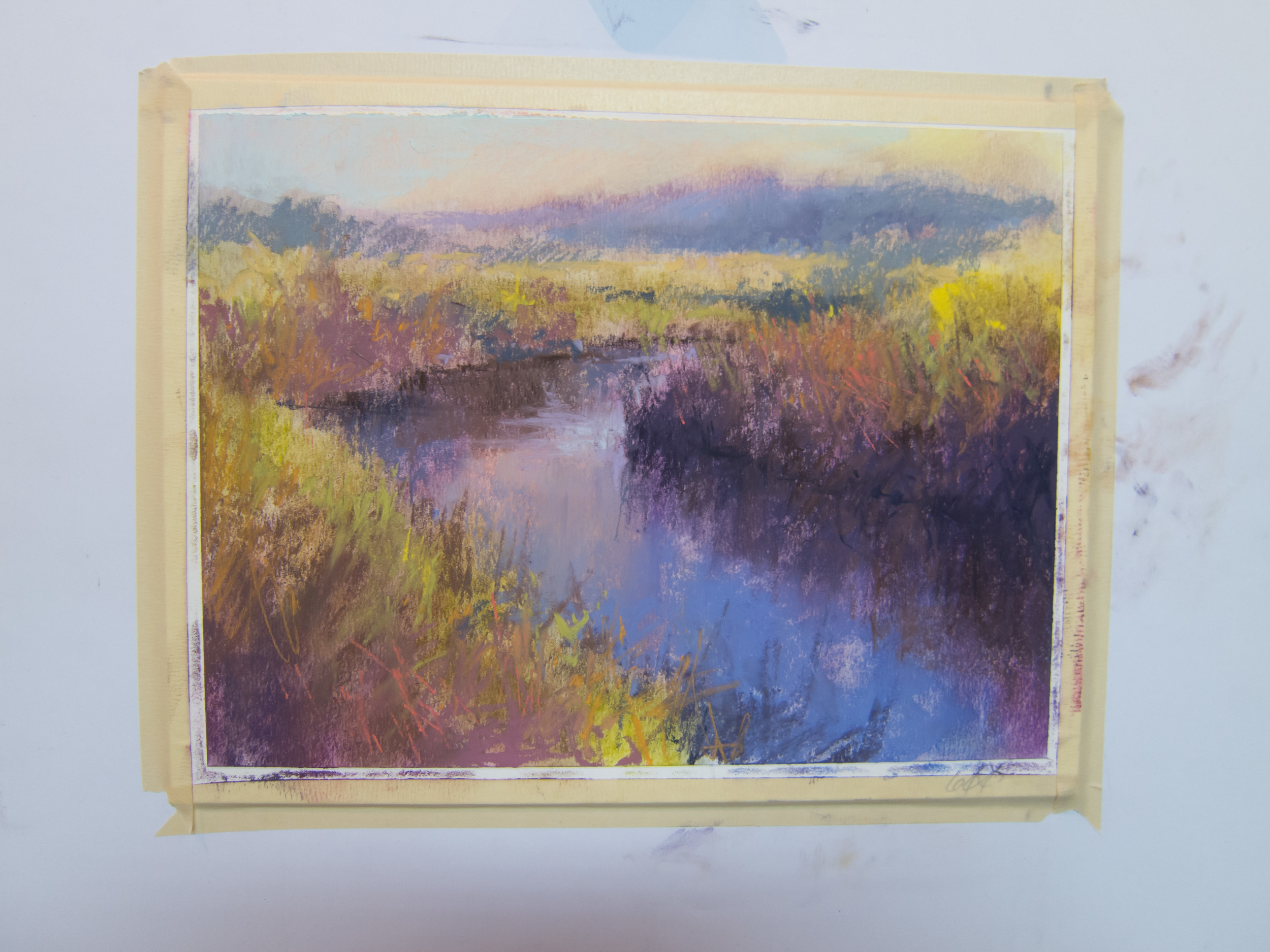Back to work, the pastel starts to go on carefully. Many more layers go on.