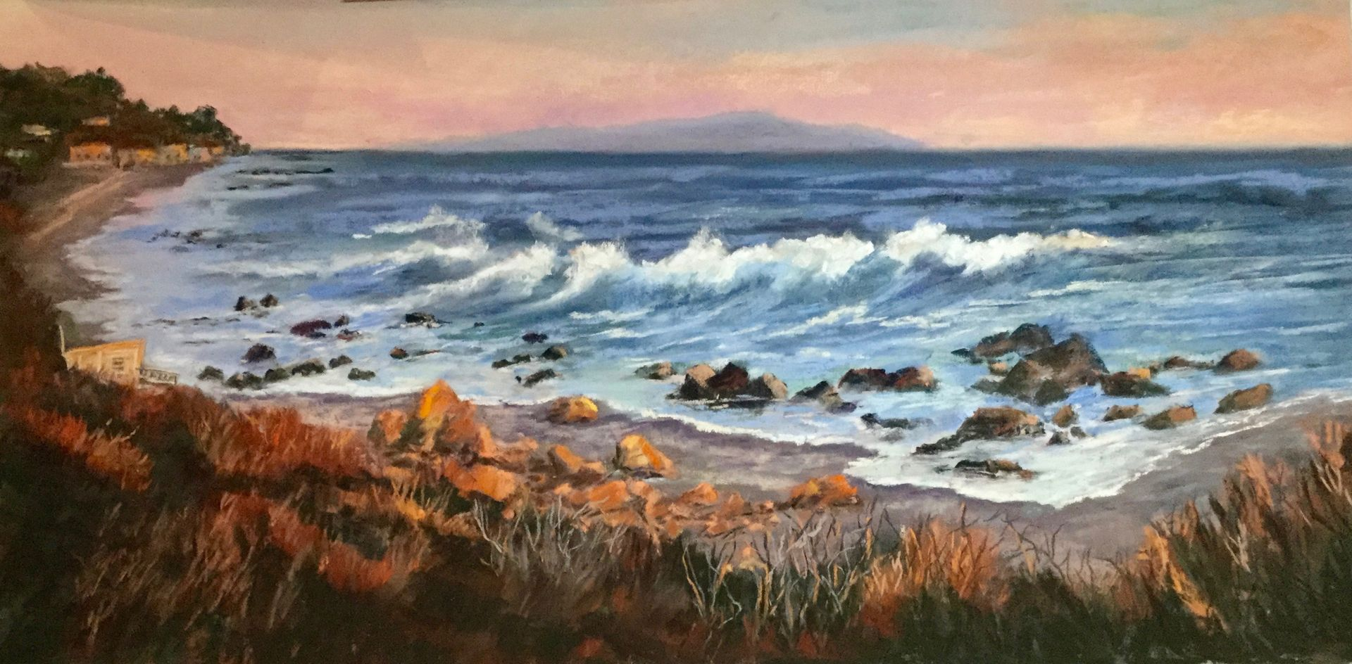Golden Rocks at the Sea by Linda Melber