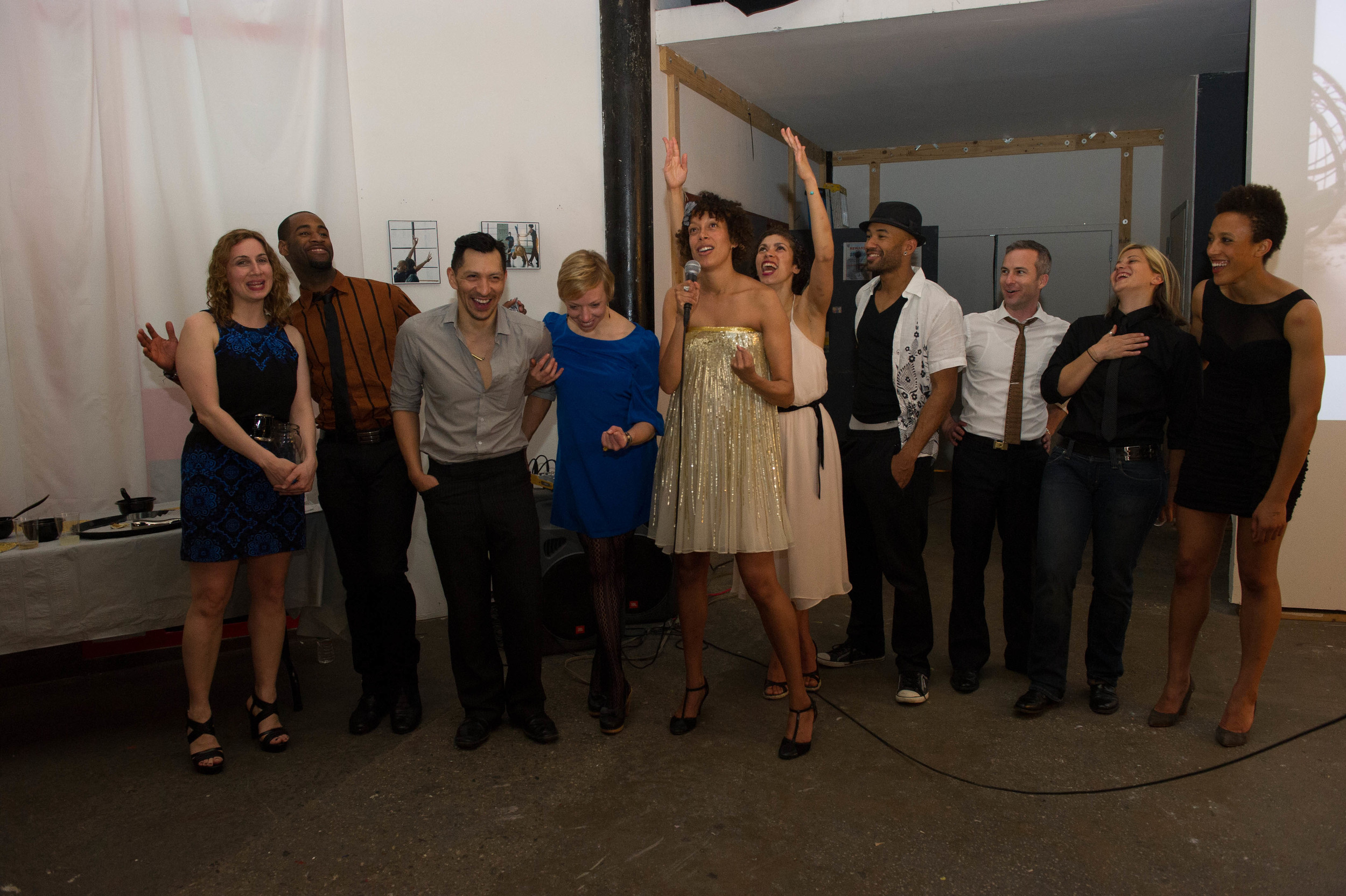From left to right: Alice Stock, Company Stefanie Batten Bland: Trenard Mobley, Miguel Anaya, Jesse Keller, Stefanie Batten Bland, Emilie Camacho, Rafåel Kaney Duverger, Todd Stone (Company Manager), Lacee Godman (Lighting Designer), Brittany Engel-Adams