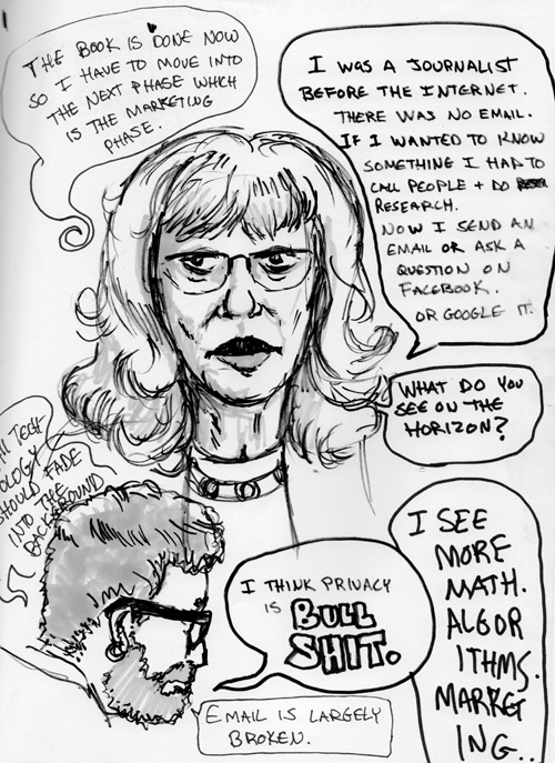 A conversation/interview that I evesdropped on. Marker on sketchpad.