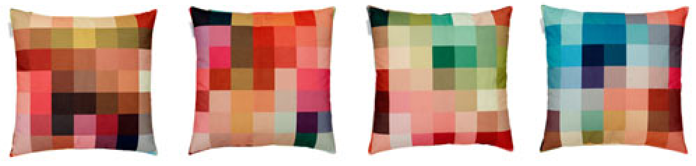 It's catching! Zuzunaga's Fire cushion collection he did for Kvad  rat that are in the designer's trademark pixel pattern.