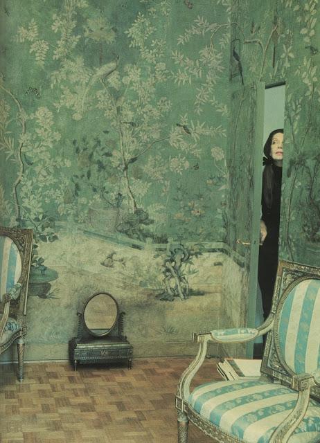 Pauline De Rothschild peering into her bedroom for a Vogue shoot