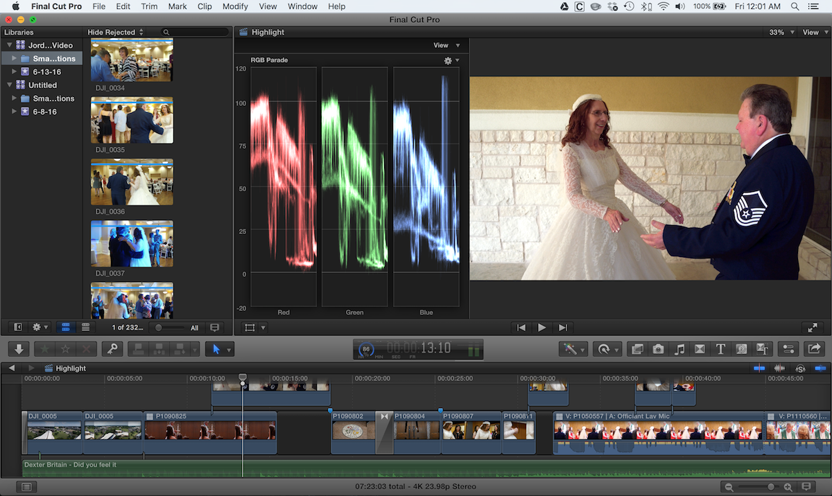 Wedding Video Edit Screen grab on FCPX