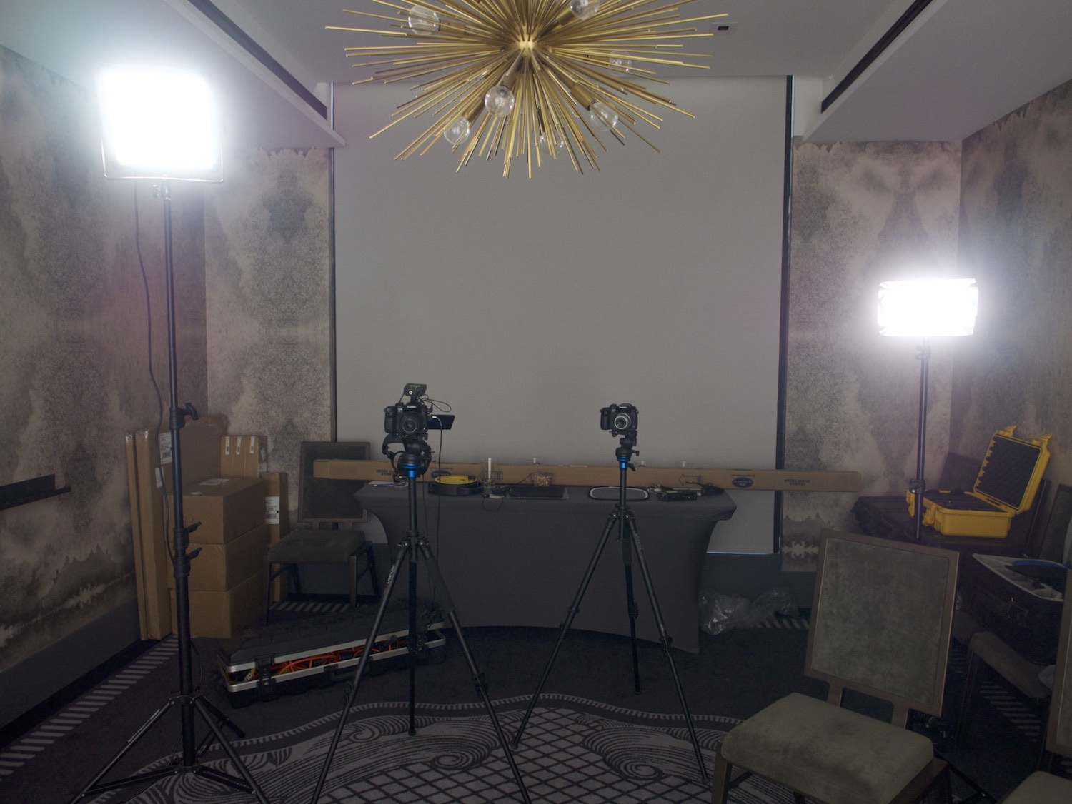 Behind the scenes interview showing camera and lights